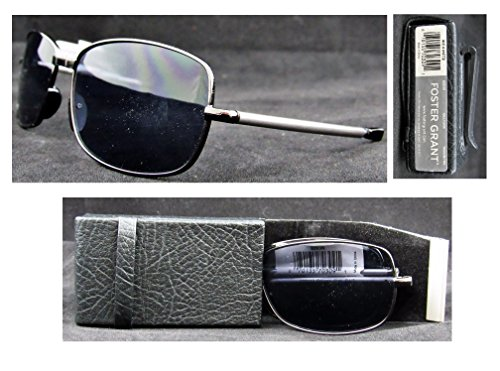 Foster Grant Microvision  Gilligan  Compact Folding Sunglasses With Leatherette Case