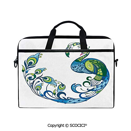 Printed Waterproof Laptop Shoulder Messenger Bag Case Peacock Colorful Fashion Curvy Pattern Tropical Summer Blossom Flourish Art for 15 Inch Laptop - Hobo Curvy