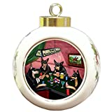 Home of Australian Kelpies 4 Dogs Playing Poker Round Ball Christmas Ornament