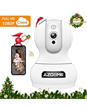 Überwachungskamera 1080P WLAN IP Kamera Full HD AZDOME mit Bewegungserkennung|2 Wege Audio|Super Nachtsicht, kompatibel mit Amazon Echo Show/Alexa,WiFi App Kontrolle Unterstützt Fernalarm