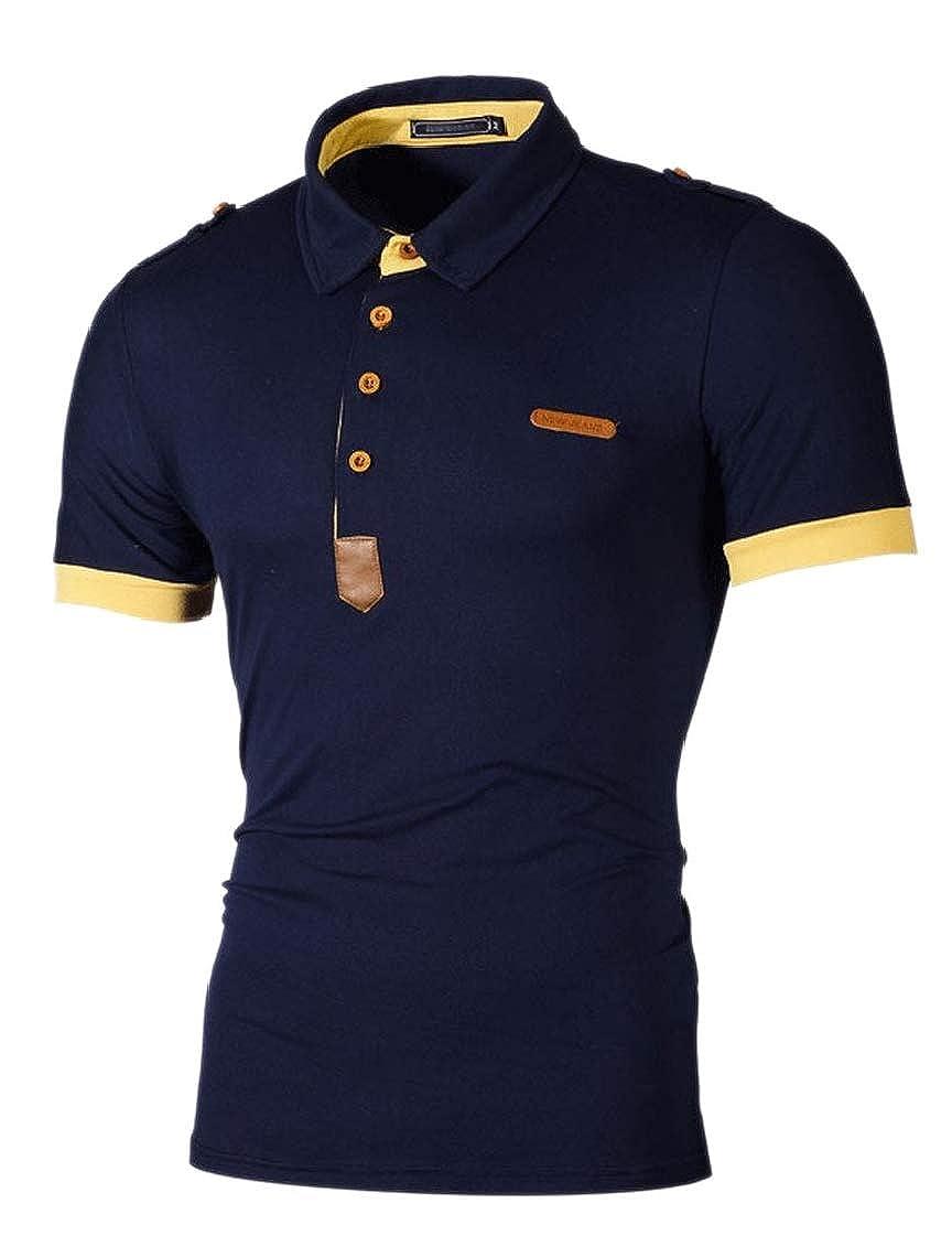 M/&S/&W Men Short Sleeve Cotton Button Basic Sports Polo T Shirts