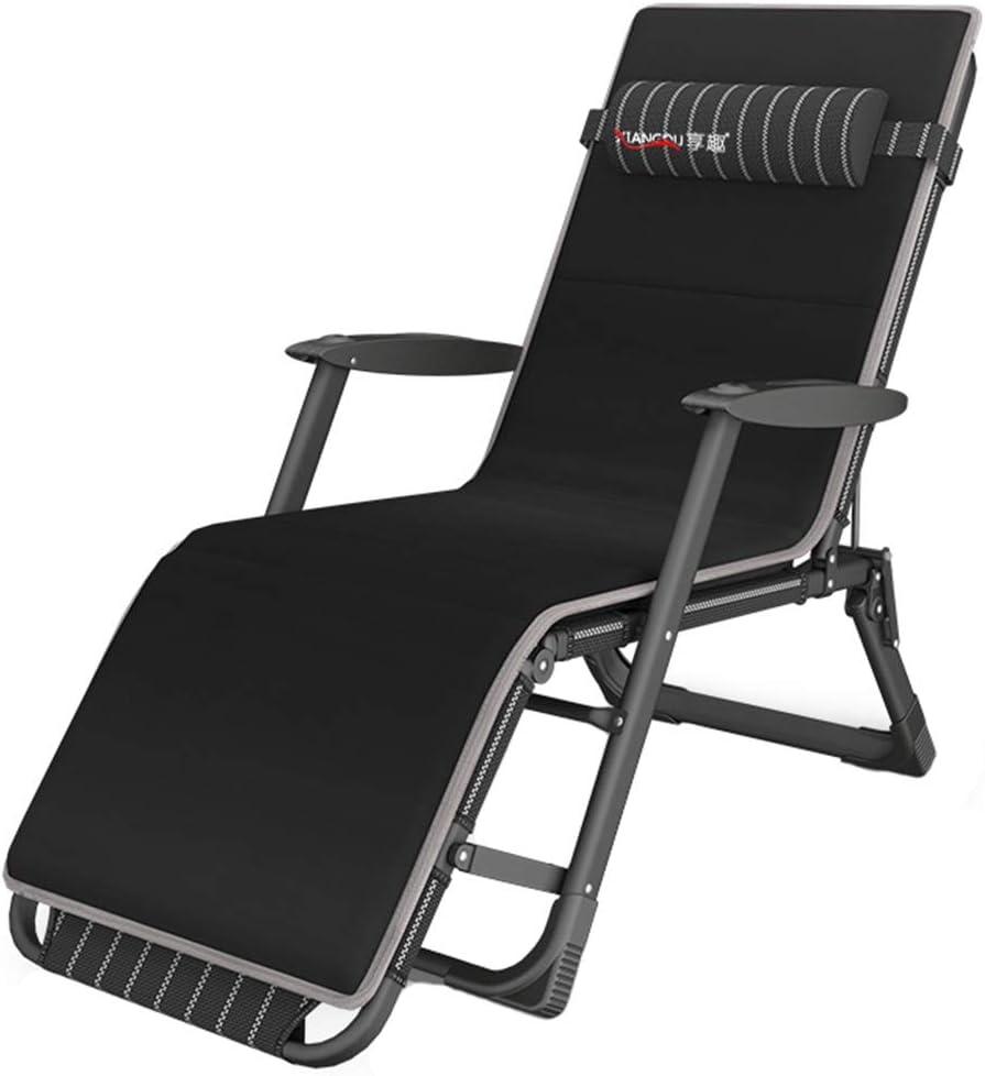 Tumbonas, Silla de jardín Tumbona reclinable - Cama de Sol Plegable con Respaldo abatible Plano, Soporta 200 kg (Negro) (Color : with Cushion)