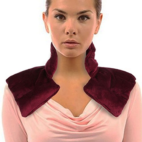 Lily's Home Herbal Aromatherapy Heated Neck and Shoulders Wrap, Ideal for Helping to Relieve Tension in The Neck and Shoulders, Microwaveable Heat Pad (Burgundy)