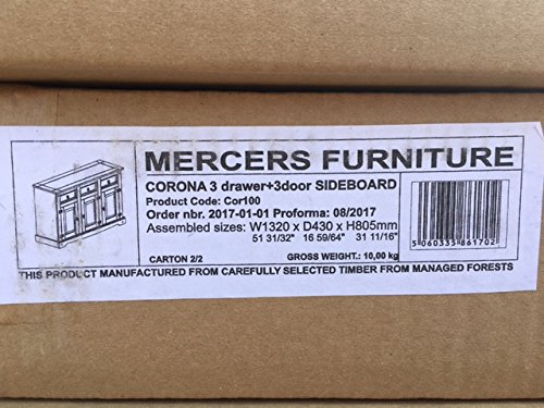 -[ Mercers Furniture Corona 3-Door 3-Drawer Sideboard, Wood, Antique Pine, Large  ]-