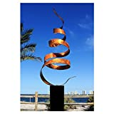 Abstract Modern Copper Freestanding Metal Yard Garden Sculpture - Contemporary Indoor/Outdoor Decor Painted Art - Copper Wisp by Jon Allen