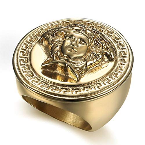 Sping Jewelry Gorgon Medusa Face Statue Gold Ring