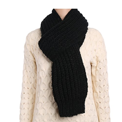Aqueena Winter Super Long and Wide Warm Acrylic Mohair Knitted Scarf Shawl Wrap (Black)