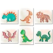 Dinosaur Watercolor Prints - Set of Six 8x10 Photos - Cute Kids Boys Girls Bedroom Wall Art