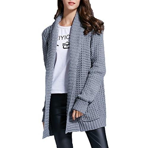 low-cost Mujer Manga Larga Largo Capa Chaqueta Windbreaker Desgastar  Cárdigan Capa Suéter Outwear 708da1d6608b1