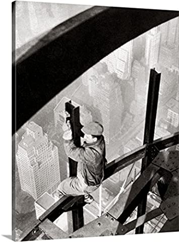 Lewis Hine Premium Thick-Wrap Canvas Wall Art Print entitled Steelworker atop the Empire State Building, New York City, during its construction, - Empire State Building Photographs