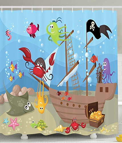 ... Kids Shower Curtain Baby Nursery Decor By Ambesonne, Ocean Octopus  Treasure Sunken Ship Pirate Sail ...