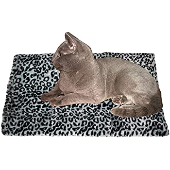 Thermal Cat Pet Dog Warming Bed Mat - GREY, (Leopard Motif) 22