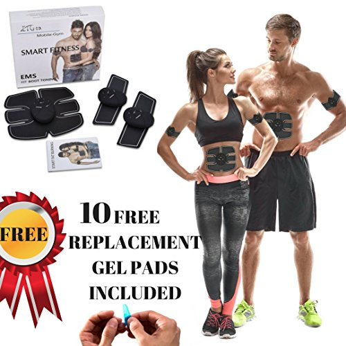ABS STIMULATOR & MUSCLE TONER 2017 - Portable Muscle Toner, Abs Trainer, Toning Belt, Abdominal Pad, Ab Belt, Abdominal Pad Bioelectric Impulse (FREE EXTRA REPLACEMENT GEL PADS) (Professional Ab Machine)