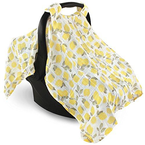 Hudson Baby Muslin Cotton Car Seat Canopy, Lemons, One Size ()