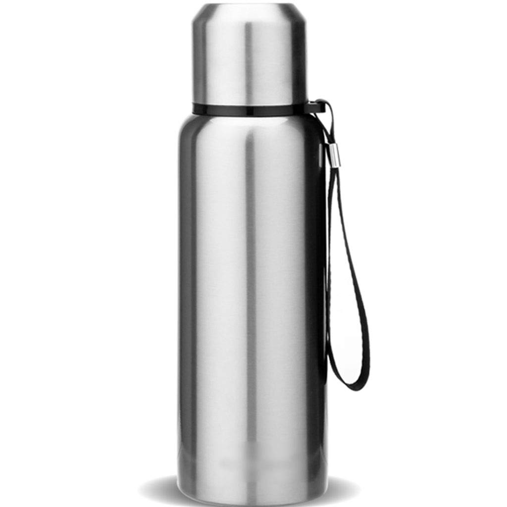 DXIUMZHP Thermos Insulation Cup, Large Capacity Vacuum Flask, Outdoor Vacuum Flask, Travel Mug Dual-use Lid, Long-Lasting Insulation, 316 Stainless Steel (Color : Silver, Size : 750ML) by DXIUMZHP