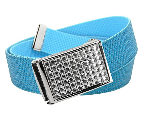- Girl's Easy Snap Crystal Buckle with Adjustable Canvas Belt Small Glitter Ice Blue
