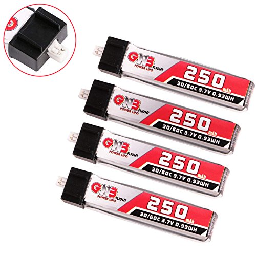 4pcs 250mAh 1S 3.7V 30C Blade Inductrix LiPo Battery Micro JST 1.25 Connector Tiny Whoop (35c Lipo Jst Battery)