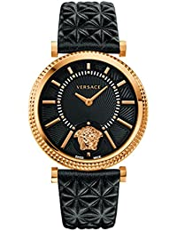 Women s  V-Helix  Quartz Stainless Steel and Leather Casual Watch, Color  ·  Versace ffd1d36e132