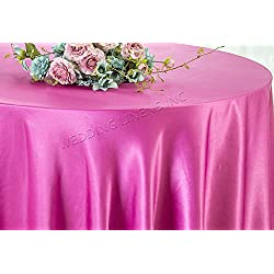 "Wedding Linens Inc. 90"" Round Seamless satin tablecloths Table Cover Linens for Restaurant Kitchen Dining Wedding Party Banquet Events - Magenta / Azelea"