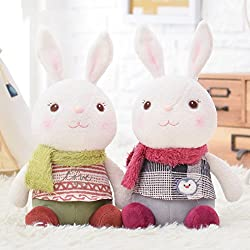 Me Too Tiramitu Stuffed Bunny Dolls Wear Scarf Plush Rabbit Valentines Gifts Toys 2 PCS 10.5'' (Green+Red)