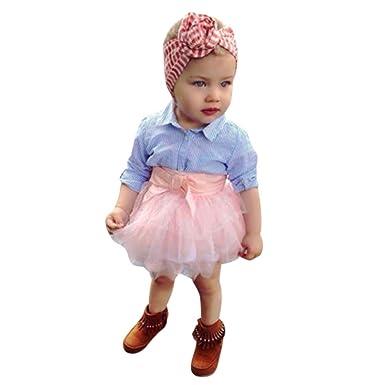 Ropa Bebe Niña Verano 0-4Años, Logobeing Recien Nacido Tops a rayas con lazo + falda tutú Conjunto Ropa con trajes para bebés: Amazon.es: Ropa y accesorios