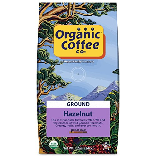 The Organic Coffee Co., Hazelnut Ground, 12 Ounce, USDA Organic, Flavored