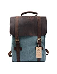 S-ZONE Retro Canvas Leather School Travel Backpack Rucksack 15.6-inch Laptop Bag Coral Green