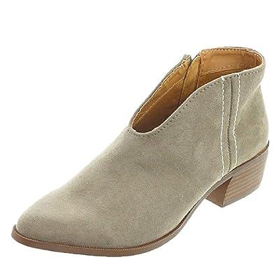 94714c341f998f Tomwell Boots Femme Imprimé Léopard Bottine Femmes Basse Plates Daim Bottes  Talon Chic Compensées Grande Taille