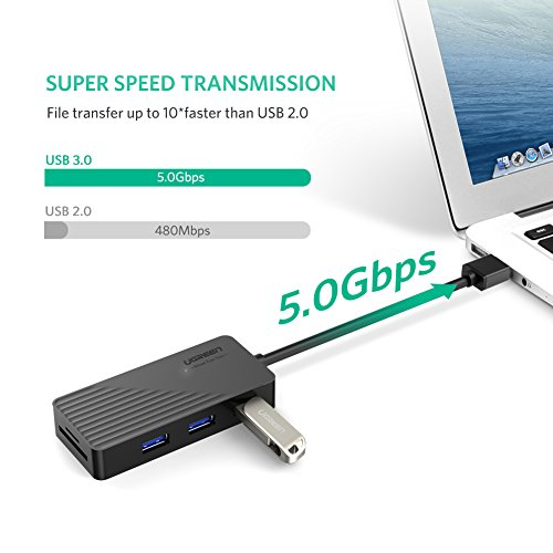 UGREEN USB Card Reader Hub 3 Ports USB 3.0 SD TF Card Adapter Hub Combo for MacBook Pro Air, Windows Surface Pro, iMac, PCs and Laptops Support Compact Flash Memory Cards Black by UGREEN (Image #2)