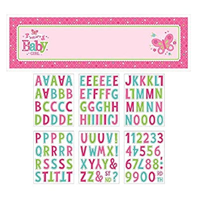 """Appealing Welcome Little One Girl Giant Sign Banner , 1 Pieces, Made from Paper, Baby Shower, 65"""" x 20"""" w/120 L&N by Amscan: Toys & Games"""