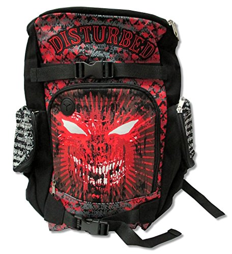 Disturbed Embroidered Letters Black Canvas Backpack