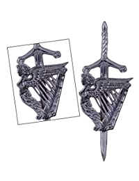 Celtic Irish Harp Highland Scottish Kilt Pins In Chrome Finish/Brooch Kilt Pin