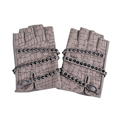 Wheelchair Motorcycle Costume (Fioretto Womens Driving Leather Gloves Fingerless Outdoor Italian Genuine Goatskin Leather Half Finger Gloves Punk Rock Style with Rivets Handmade Unlined Light Grey 7)