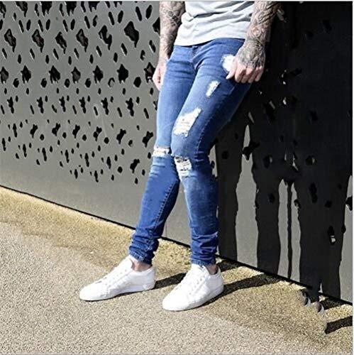 Casuali Uomo Buchi Dunkelblau Con Da Lunghi Distrutti Classiche Jeans Pantaloni Ragazzi Di Stretch Sportivi Larghi d4dgwIPq