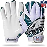 Franklin Sports Philadelphia Eagles Youth NFL Football Receiver Gloves – Receiver Gloves For Kids – NFL Team Logos and Silicone Palm – Youth M/L Pair