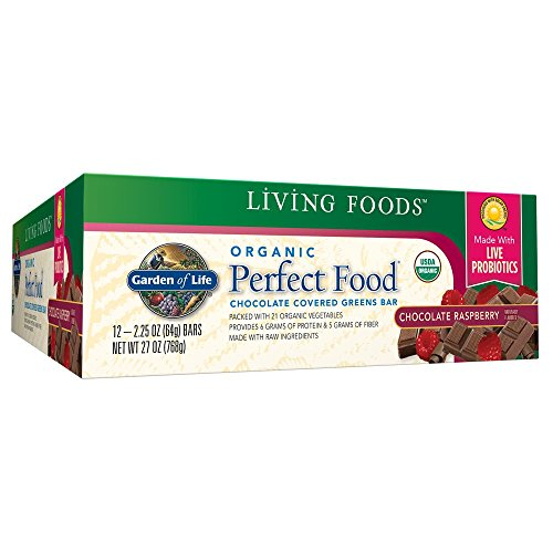 Garden of Life Organic Perfect Food Whole Food Fruit and Greens Bars with Fiber and Probiotics, Vegetarian, Chocolate, 64g bars (12 per carton)