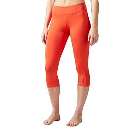 7f92dffff209 Reebok Women s Workout Ready Capris Colored Block Carotene X-Large 19 19