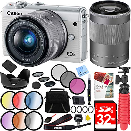 Canon EOS M100 24.2MP Mirrorless Camera (White) with EF-M 15-45mm and EF-M 55-200mm f/4.5-6.3 is STM Lens (Silver) Plus 32GB Accessories Bundle For Sale