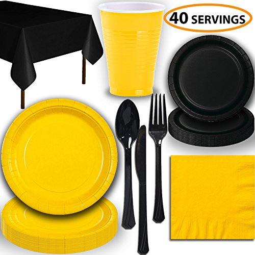 Disposable Party Supplies, Serves 40 - Yellow and