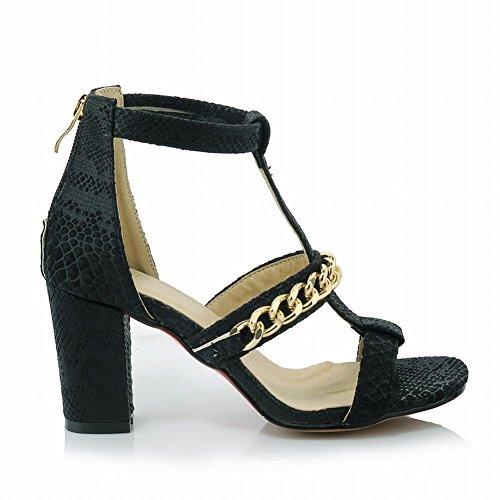 Charm Foot Womens New Chic Chunky Heel Open Toe Sandal Black bNk0cdev