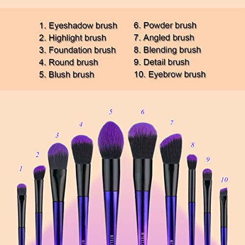 Stellaire Chern Makeup Brush Set, 10 Pcs Premium Synthetic Cosmetic Brushes, Foundation Blending Blush Powder Eye Shadow Make Up Brushes Kit - Purple & Black