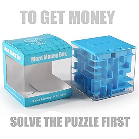 Trekbest Money Maze Puzzle Box - A Fun Unique Way to Give Gifts for Kids and Adults (Blue) - Christmas Presents