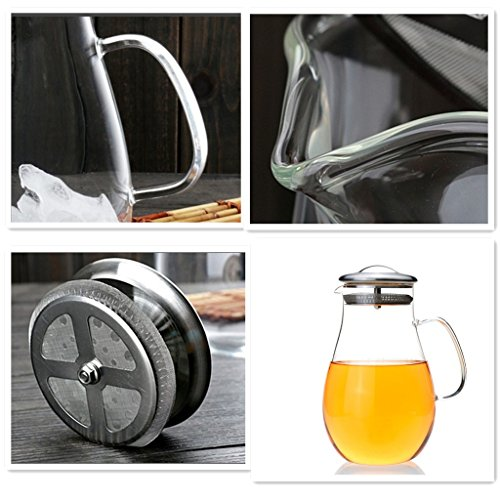 Gobize 64 oz large heat resistant borosilicate glass pitcher with stainless steel lid hot or - Heat proof pitcher ...