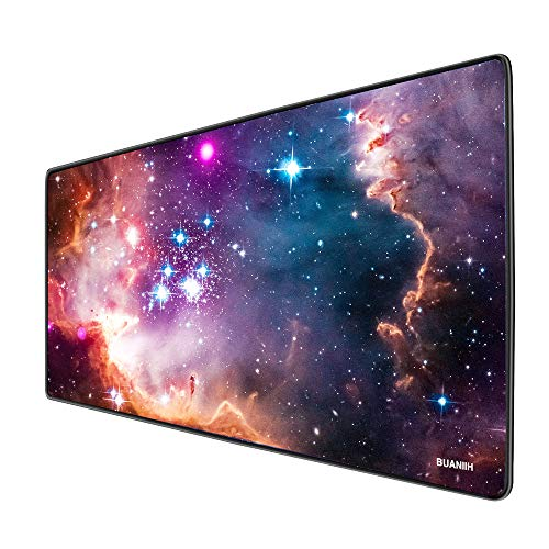 BUANIIH Galaxy Gaming Mouse Pad XL, Extended Large Mouse Mat Desk Pad, Stitched Edges Mousepad, Long Non-Slip Rubber…