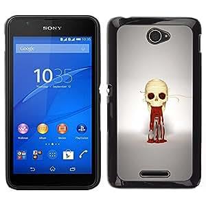 // PHONE CASE GIFT // Duro Estuche protector PC Cáscara Plástico Carcasa Funda Hard Protective Case for Sony Xperia E4 / Puke cráneo /