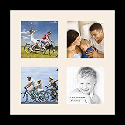 ArtToFrames Alphabet Photography Picture Frame with 4 - 5x7 Openings. and Satin Black Frame.