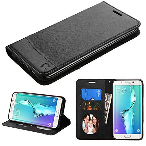 Samsung Galaxy S6 Edge Plus Case,JoJoGoldStar Folio Wallet, Textured Bicast Leather Flip Cover Wallet Case with Card Holder and Kickstand + Stylus and Screen Protector (Black / Black) - Edge Portfolio