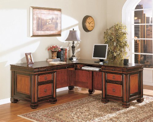Home Office L-Shaped Executive Desk in Dark Two Tone Finish