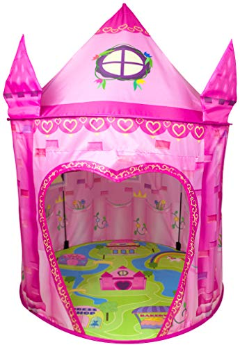 Indoor Toys Imaginative Play (Princess Play Tent Playhouse | Unique Castle Design for Indoor and Outdoor Fun, Imaginative Games & Gift | Foldable Playhouse Toy + Carry Bag for Girls & Boys | by Imagenius Toys)