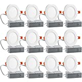 12PK 4 inch Slim LED Recessed Lighting Downlight, Dimmable,9W (65W Equivalent), 5000K Daylight White, 600Lm, ETL Listed, Retr